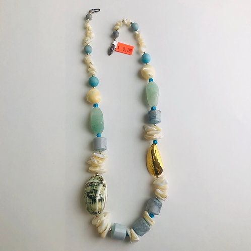 Bluish/Green Stone & Shell Necklace