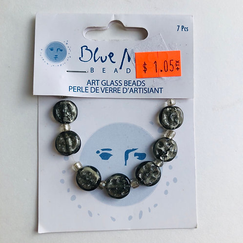 Blue Moon Glass Beads - 7 pc.
