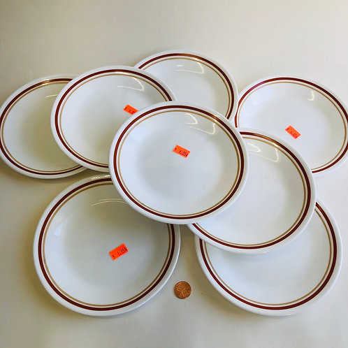 Corelle Red & Gold Striped Salad Plates - Set of 8
