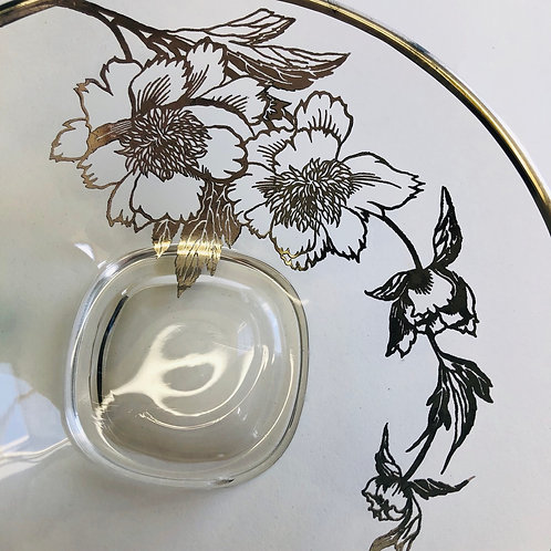 Silver Trimmed Floral Candy Dish