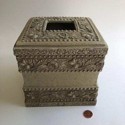 Floral Carved Frieze Tissue Box Cover