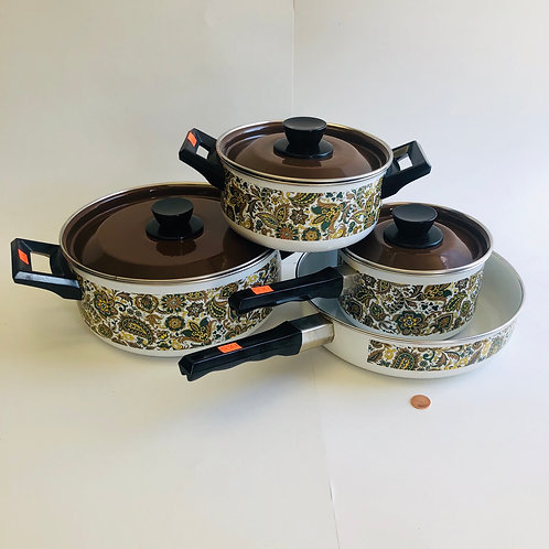 Vintage Paisley & Floral Cookware Set