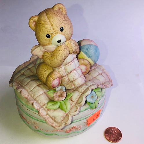 Porcelain Teddy Bear Music Box.