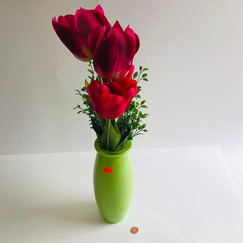 Silk Tulips in a Green Vase