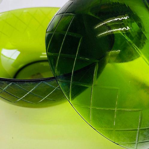 Green Checkered Print Bowl (Single)