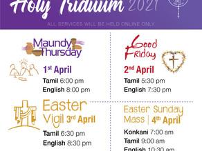 Holy Triduum Schedule 2021