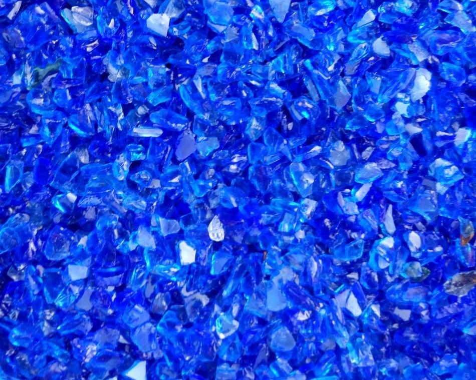 Verre pilé bleu