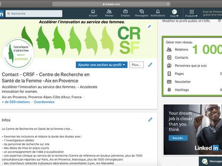 1 000 relations sur notre page Linkedin du CRSF - Centre de Recherche en Santé de la Femme
