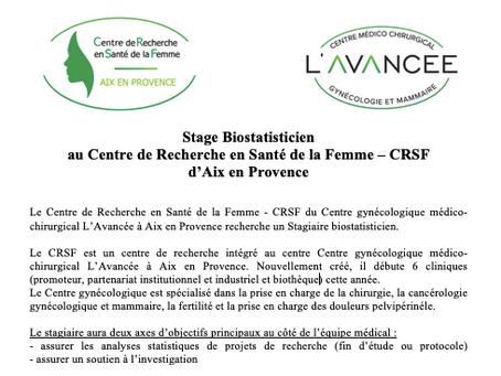 Stage Biostatisticien au Centre de Recherche en Santé de la Femme – CRSF d'Aix en Provence