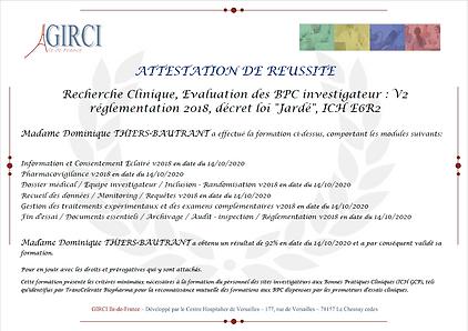 Certificat BPC Dominique Thiers Bautrant