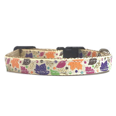 "Paws Claws Ribbon Collar Couture 3/8"" inch Small Dogs Puppies Fall Leaves"