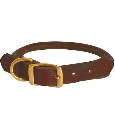 Jeffers Rolled Leather Collar Brown Brass Fittings