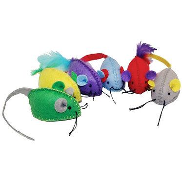 Multipet Felt Hand Stitched Mice Catnip Cat Toy