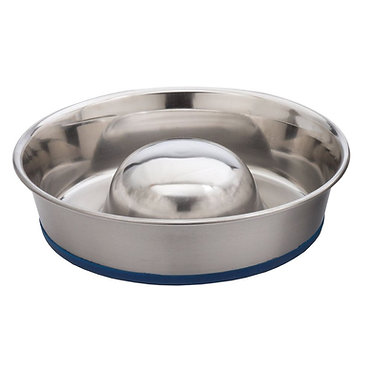 OurPets Durapet Stainless Steel Slow Feed Bowl Non-Skid