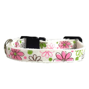 """Paws Claws Ribbon Collar Spring Flowers Small Dogs 3/8"""" Inch Spring Flowers"""