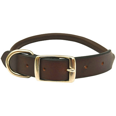 Jeffers Premium Rolled Leather Collar Brown Nickel Hardware