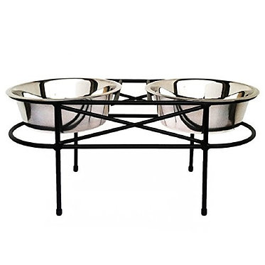 Mesh Elevated Double Bowl Diner Wrought Iron Stainless Steel Large