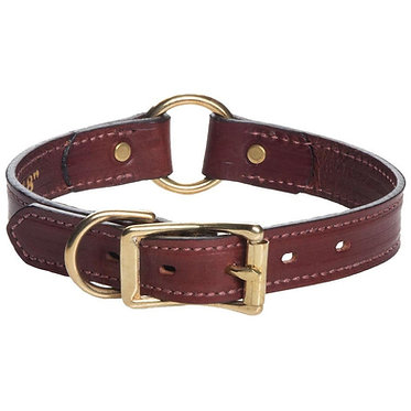 Mendota Leather Hunt Safety Center Ring Dog Collar Wide 1""