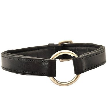 Premium Padded Leather Collar Black Center Ring
