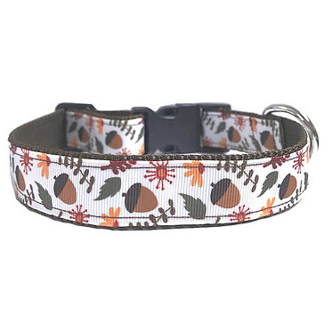 """Paws Claws Ribbon Couture Dog Collar 1"""" Inch Wide Fall Acorns"""