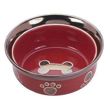 SPOT Ritz Copper Rim Dog Dish Red
