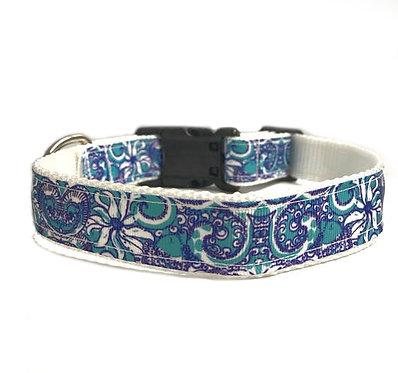 Paws & Claws Ribbon Nylon Collar Blue Florentine