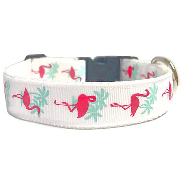 Paws & Claws Ribbon Nylon Collar Flamingos