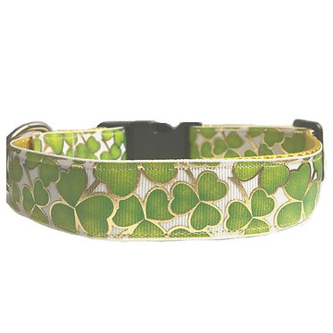 "Paws & Claws Ribbon Couture Dog Collar 1"" Inch Foil Clovers"