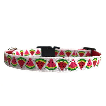 """Paws Claws Ribbon Collar Couture Small Dogs Puppies 3/8"""" Watermelons"""