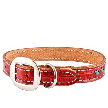 San Saba Southwestern Leather Dog Collar Red Gator