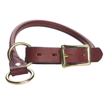 Mendota Rolled English Bridle Leather Training Collar Chestnut