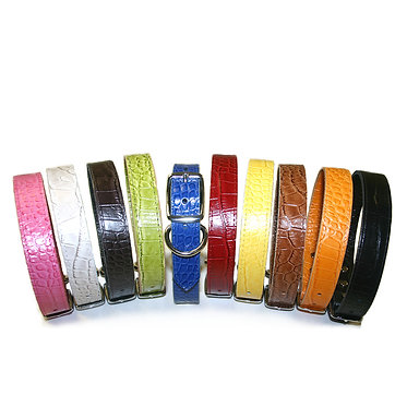 Leather Brothers Omnipet Faux Crocodile Dog Collar Pink Pearl Chocolate Green Blue Red Yellow Mocha Orange Black