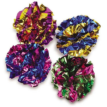 Zanies Mylar Crackle Balls Cat Toy 4-pak