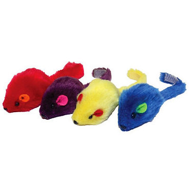 Multipet Plush Mice with Rattle 2-inch 4-pak