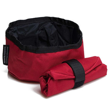 Mendota Collapsible Dog Bowl Travel Red