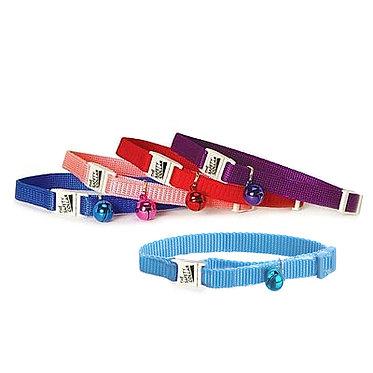 Adjustable Nylon Cat Collar Breakaway Buckle Bell Red, Blue, Light Blue, Purple, Pink