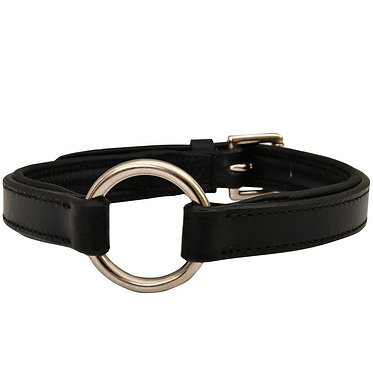 Jeffers Padded Black Leather Hunt Collar Center Ring