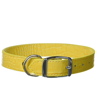 Leather Brothers Omnipet Faux Crocodile Dog Collar Yellow