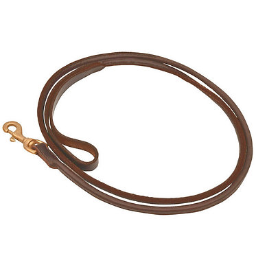 Jeffers Rolled Leather 6-ft. Lead Brown Brass Hardware