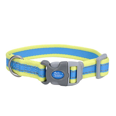 Coastal Pet Attire Reflective Collar Aqua/Neon Yellow