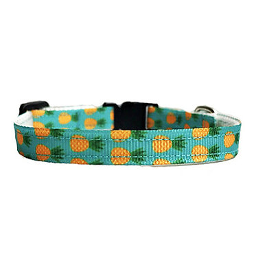 "Paws Claws Ribbon Collar Couture Small Dogs Puppies 3/8"" Pineapples"