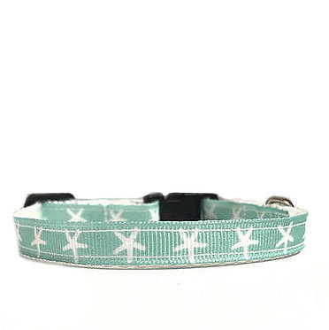 Paws n Claws Ribbon Collar for Cats Seafoam Starfish