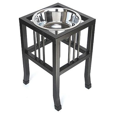 Baron Tall Heavy Duty Raised Dog Bowl Elevated Diner Wrought Iron Stainless Steel