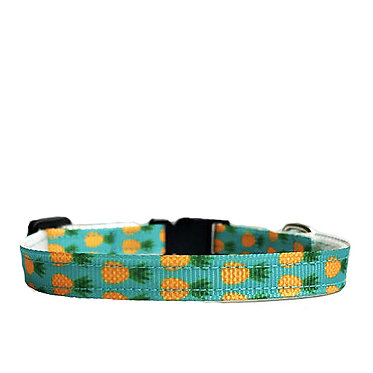 Paws n Claws Ribbon Collar for Cats Teal Pineapples