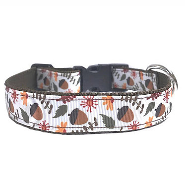 "Paws Claws Ribbon Couture Dog Collar 1"" Inch Wide Fall Acorns"