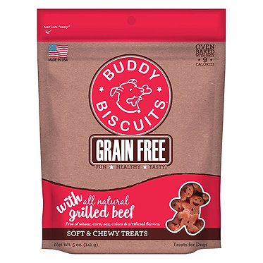Buddy Biscuits Grain-Free Soft & Chewy  Dog Treats Slow-Roasted Beef 5 oz. bag