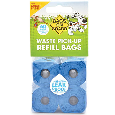 Bags on Board Dog Waste Refill Bags Blue 60 ct