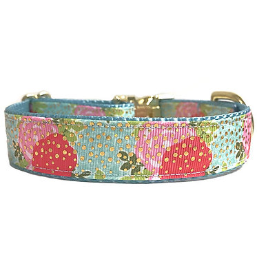 """Paws Claws Ribbon Dog Collar Couture 1"""" Inch Blushing Flowers"""