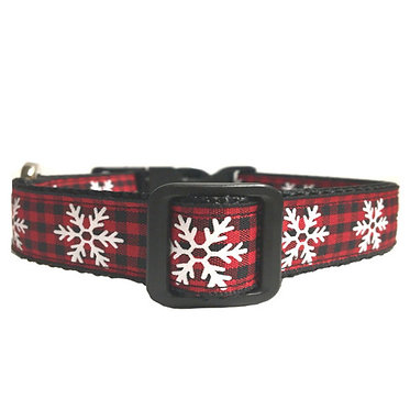 "Paws Claws Ribbon Couture Dog Collar 1"" Inch Snowflake Plaid"