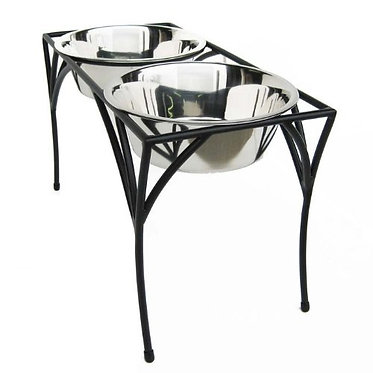 "Arbor Elevated Double Diner Large 12"" Inch Elevated Diner Wrought Iron Stainless Steel"